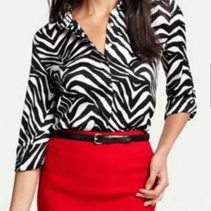 Ann taylor Zebra print button down shirt 4P